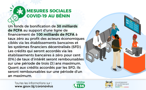 Mesures sociales Covid-19 au Bénin - Fonds de bonification